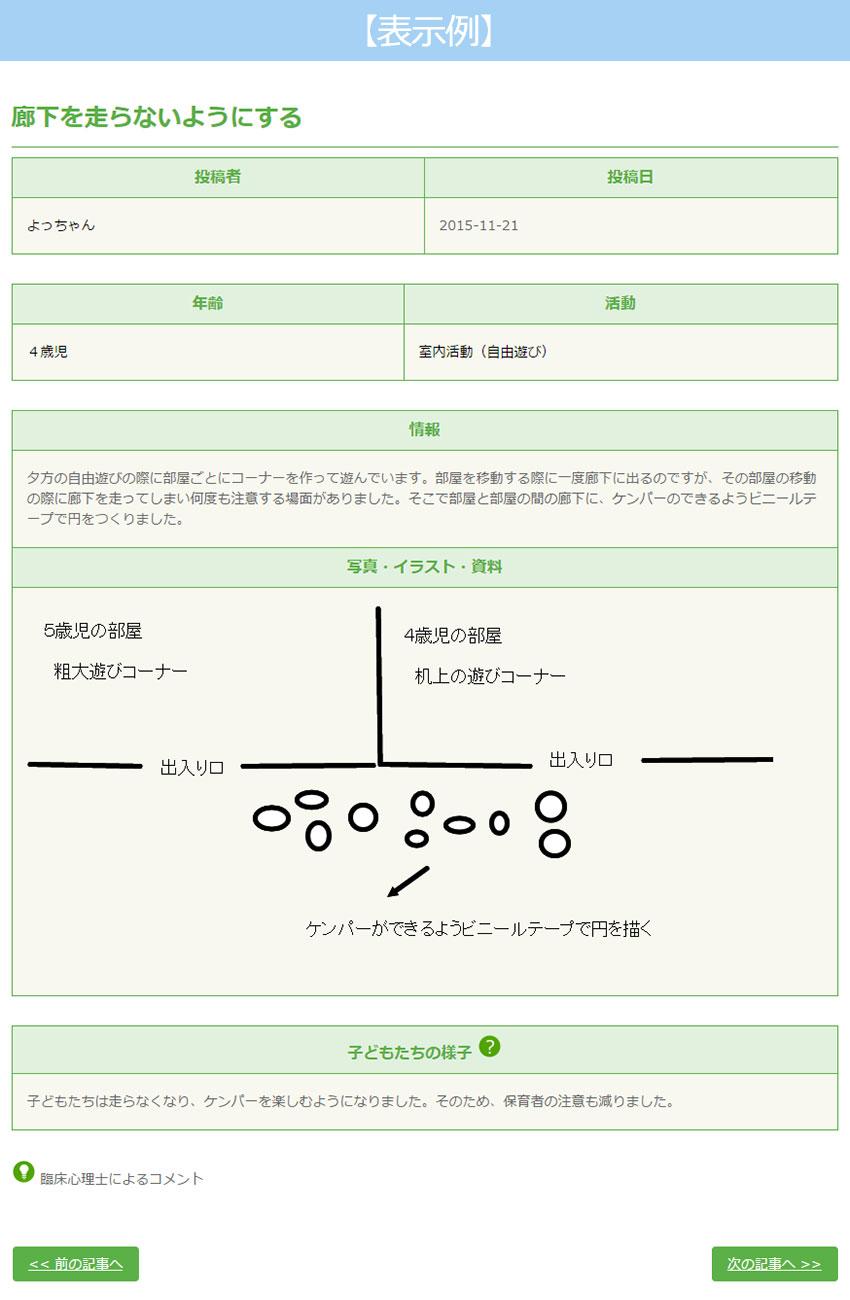 保育実践レターの使い方表示例