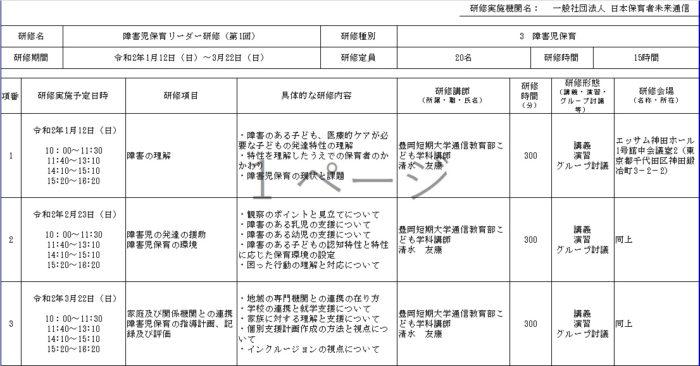 「東京都保育士等キャリアアップ研修」(研修種別:障害児保育)日程